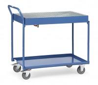 Tischwagen mit öldichter Wanne und Gitterrost, 300 kg Tragkraft