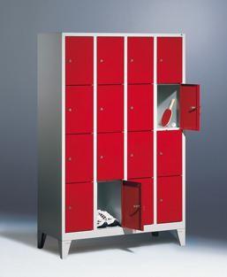 Fächerschränke mit Füßen, Breite 1220 mm, 16 Schließfächer übereinander je 300 mm breit, 3 Farben