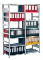 Büroregal doppelseitig, verzinkt 80 bis 100 kg Tragkraft pro Boden