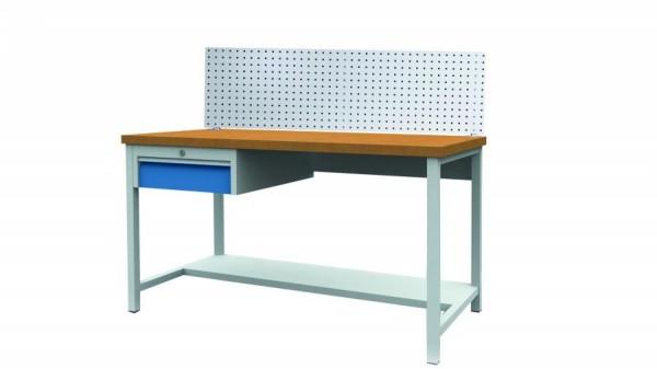 Arbeitstisch - Werkbank mit Hakenwand und 1 Schublade, 1500x750x859 mm, 200 kg Tragkraft
