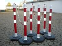 Kettenpfosten Multimax mit reflektierenden Streifen, 6-er Set - rot/weiß -