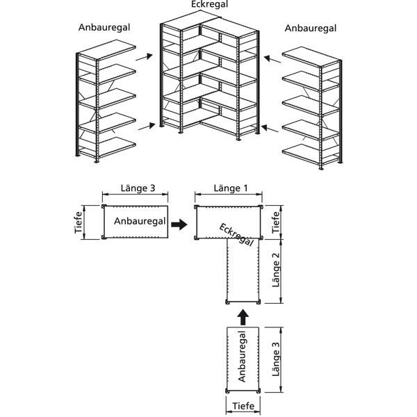 Anbauregel mit 5 Böden für Eckregal 2000x1000x600, verzinkt 100 kg