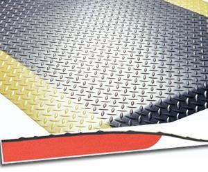 Arbeitsplatzmatte Diamond Deckplate mit gelben Rand, 600 x 900 mm