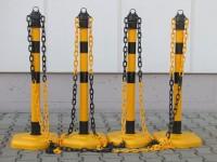 Kettenpfosten Multimax mit schwarzen Streifen, 4-er Set - gelb/schwarz -