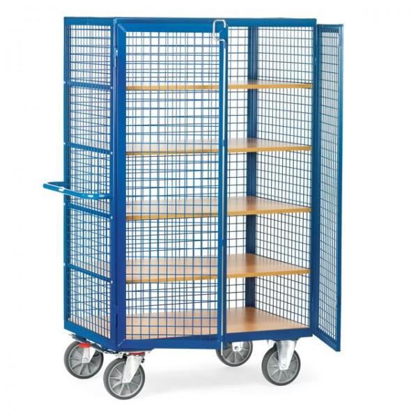 Draht-Kastenwagen mit Einlegeböden, verschließbar, 750 kg Tragkraft, 2 Größen, 4 Ausführungen