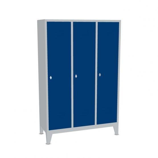 Garderoben-Stahlspind 3 Abteile mit Füßen, Breite 1290 mm, Höhe 1850 mm, enzianblau