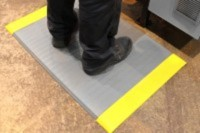 Arbeitsplatzmatte Orthomat® Ribbed, grau/gelb 1200 mm x lfd. Meter