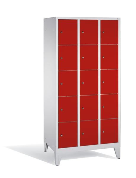 Fächerschränke mit Füßen, Breite 920 mm, 15 Schließfächer übereinander je 400 mm breit, 3 Farben