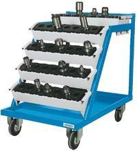 CNC Werkzeugträger, fahrbar, 630x900x860 mm, incl. 6 Aufnahmeträger 400 kg Tragkraft