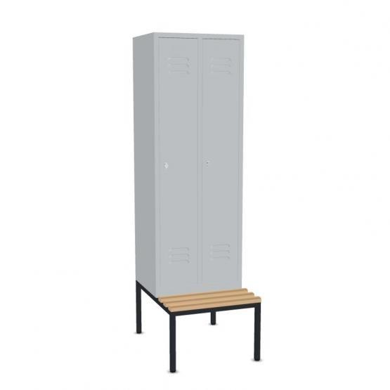Garderoben- Stahlspinde mit Sitzbank Breite 610 mm, 3 Farben