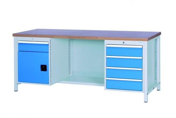 Werkbank, 1 Stahlfach + 1 Schrank, 5 Schubladen, 2000x750x959 mm, 1000 kg Tragkraft
