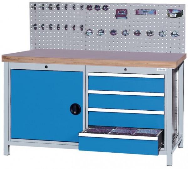 Kastenwerkbank mit Lochplatte, 1500x750x859 mm, 1 Schrank, 4 Schubladen, 1000 kg Tragkraft