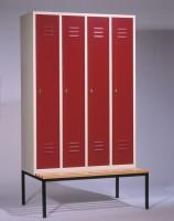 Garderoben- Stahlspinde mit Sitzbank Breite 1220 mm