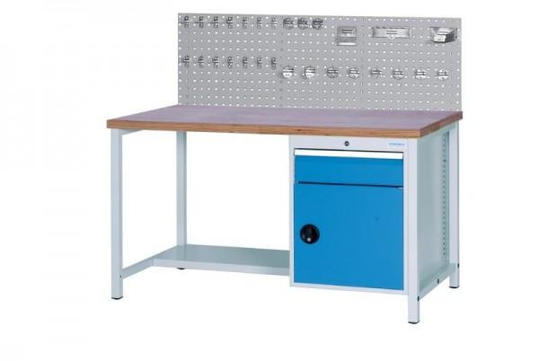 Werkbank mit Lochplatte, 1500x750x959 mm, 1000 kg Tragkraft, 1 Schublade, 1 Schrank