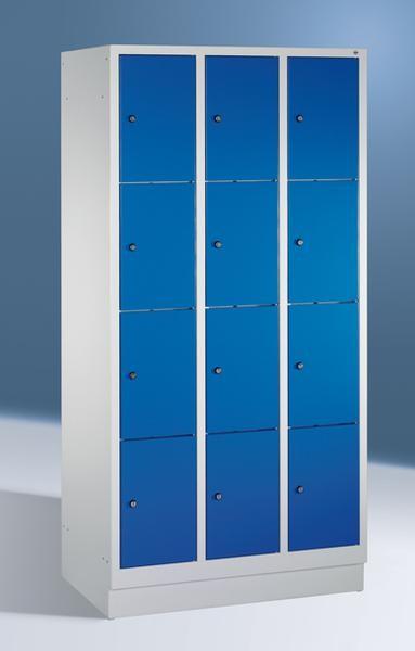 Fächerschränke mit Sockel, Breite 920 mm, 12 Schließfächer übereinander je 300 mm breit, 3 Farben