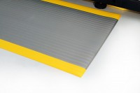 Arbeitsplatzmatte Orthomat® Ribbed, grau/gelb 1200 mm x 18,3 Meter