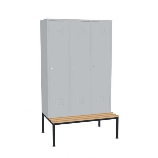 Garderoben- Stahlspinde mit Sitzbank Breite 920 mm, 3 Farben