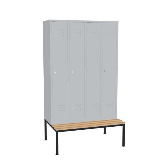 Garderoben- Stahlspinde, 4 Türen mit Sitzbank Breite 1220 mm, Höhe 2090 mm, 3 Farben