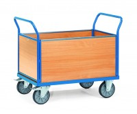 Großer Plattformwagen mit Holzwänden 600 kg Tragkraft - Euro-Format