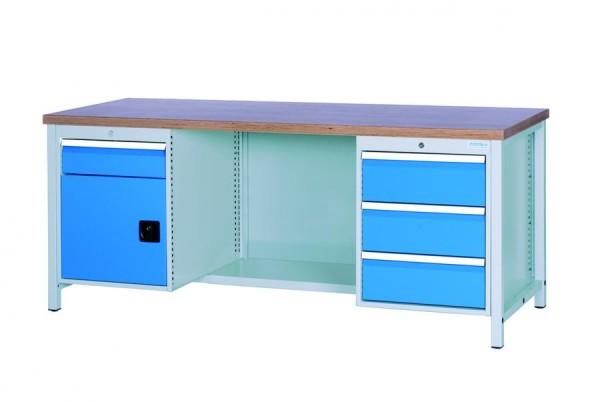 Werkbank, 1 Stahlfach, 4 Schubladen, 2000x750 859 mm, 1000 kg Tragkraft