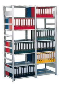 Büroregal doppelseitig, verzinkt, 10-14 Böden, in 3 Höhen,als Grund- und Anbauregal sofort lieferbar
