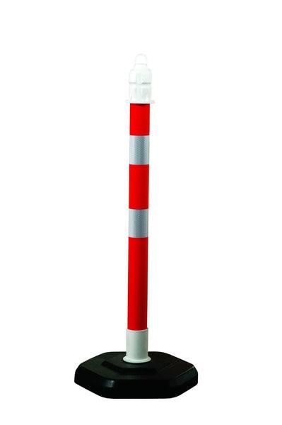 Kettenpfosten Multimax mit reflektierenden Streifen, einzeln, rot-weiß