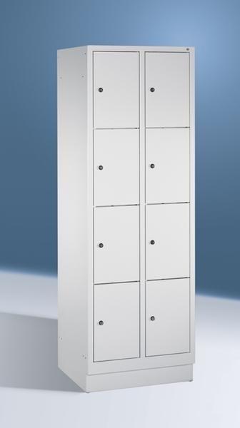 Fächerschränke mit Sockel, Breite 810 mm, 8 Schließfächer übereinander je 400 mm breit, 3 Farben