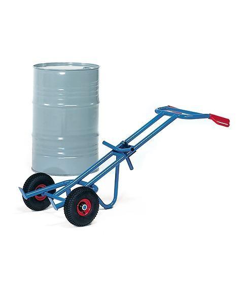 Fasskarren mit Stützlenkrolle für 200-Liter Fässer mit Rand, 300 kg Tragkraft, Luft-Bereifung