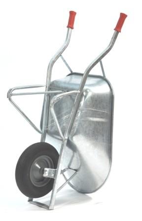 Baustellen-Schubkarre, verzinkt, Tragkraft 200 kg, 80 Liter Volumen