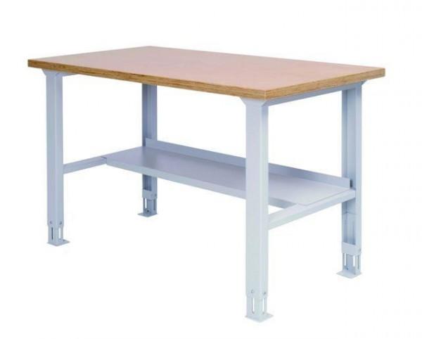 Arbeitstisch mit Ablage, 2000x750x859-1059 mm, höhenverstellbar, 200 kg Tragkraft