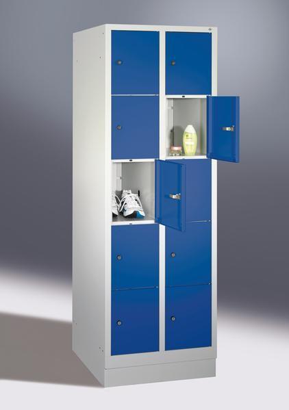Fächerschränke mit Sockel, Breite 810 mm, 10 Schließfächer übereinander je 400 mm breit, 3 Farben