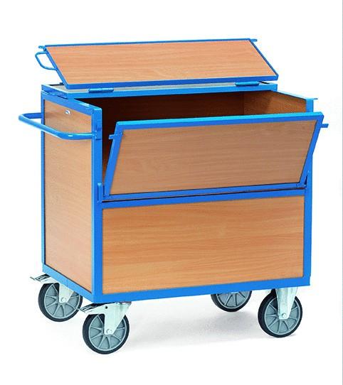 Kastenwagen mit Deckel, Holz 500 kg Tragkraft