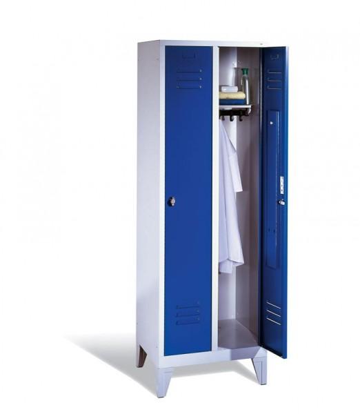 Garderoben-Stahlspind 2 Abteile mit Füßen, Breite 810 mm, Höhe 1850 mm, enzianblau