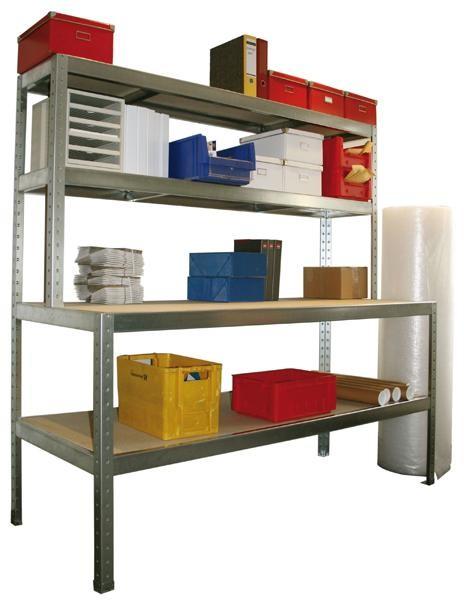 Arbeitstisch - Packtisch mit Ablage, verzinkt 400 kg Tragkraft, in 2 Breiten